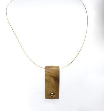 Collana in Oro Giallo 750-con pendente in legno olivatro e sfera