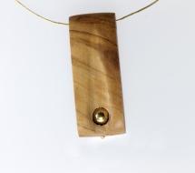 -Pendente in Oro Giallo 750- in legno di olivastro