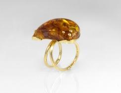 -Anello in Oro Giallo 750- con ambra del baltico