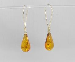 -Orecchini in Oro giallo 750- con ambra del baltico