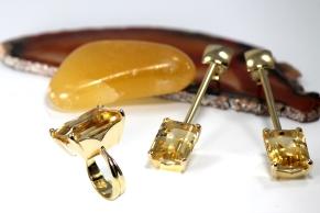 -Anello e orecchini in Oro Giallo 750- con topazio citrino taglio ottagonale